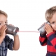children using tin can phone voip