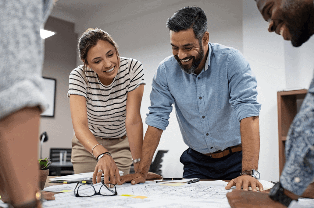 Architects Looking Over Floorplans